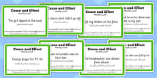 Guided Reading Skills Task Cards Cause and Effect Arabic Translation