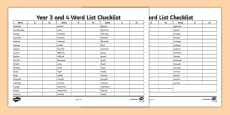 Year 3 and 4 Word List Checklist