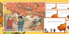 Autumn Woods Scene and Question Cards