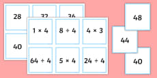 Multiplication and Division Facts for the 4 Times Table Matching Cards
