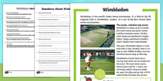 KS1 Wimbledon Differentiated Reading Comprehension Activity