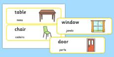 Classroom Furniture labels Portuguese Translation