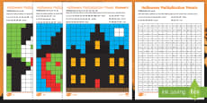 * NEW * LKS2 Halloween Multiplication Mosaics Differentiated Activity Sheets