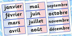 French Months Of The Year Word Cards