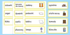 Bedroom Word Cards Polish