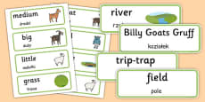The Three Billy Goats Gruff Word Cards Polish Translation