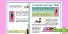 Savasana Relaxation Pose – Adult Yoga Information Cards