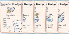 How to Make Pancakes Recipe Sheets