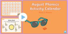 Phase 2 August Phonics Activity Calendar PowerPoint