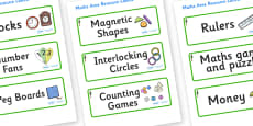 Redwood Themed Editable Maths Area Resource Labels
