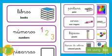 * NEW * Tarjetas de vocabulario bilingues: El material de la clase English/Spanish