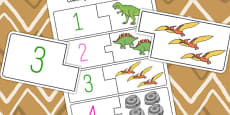 Dinosaur Themed Counting and Matching Puzzle