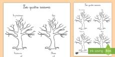 Feuille de coloriages : Les quatre saisons