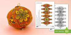 Simple 3D Diwali Decoration Activity Paper Craft
