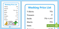 Laundrette Role Play Washing Price List