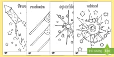 * NEW * Fireworks Themed Coloring Activity Sheets
