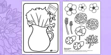 Mother's Day Flower Bouquet Colouring Activity Romanian Translation