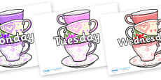 Days of the Week on Teacups