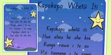 Twinkle, Twinkle, Little Star Song Print Out Te Reo Māori