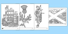 Scotland Mindfulness Colouring Sheets
