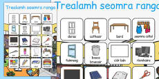Classroom Objects Vocabulary Poster Gaeilge