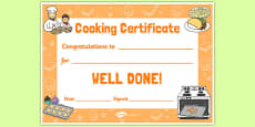 Cooking Reward Certificate