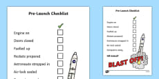 Space Travel Pre-Launch Checklist