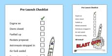 Space Travel Pre-Launch Checklist