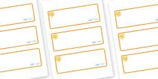 Amber Themed Editable Drawer-Peg-Name Labels (Blank)