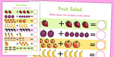 Fruit Salad Up to 10 Addition Sheet
