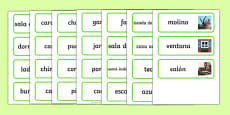 Houses and Homes Topic Word Cards Spanish