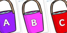 A-Z Alphabet on Buckets