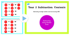 Year 2 Subtracting 2 Digit Numbers and Tens With Same 10s Crossing 100 Number Lines PowerPoint