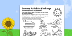 Summer Holiday Challenges Activity Sheet Polish Translation