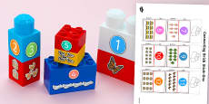 Numerals and Objects to Twenty Matching Connecting Bricks Game