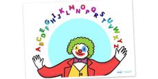 Clown Juggling Alphabet Display Poster