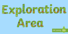 Exploration Area Display Lettering