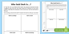 Who Said Dark Is...? Differentiated Activity Sheet Pack