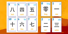 Chinese Numbers 1-10 Numbers Pronunciations Flash Cards