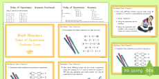 Order of Operations Math Mastery Challenge Cards