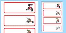 Bicycle Area Editable Word Cards