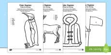 Polar Regions Colour by Number Counting Activity Sheet English/Polish