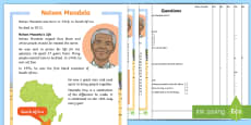 KS1 Nelson Mandela Differentiated Reading Comprehension Activity