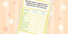 Identifying Appropriate Behaviour With Acquaintances And Strangers Activity Sheet
