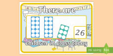 There are Children in Class Today with Number Shapes A4 Display Poster