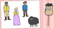 Baa Baa Black Sheep Stick Puppets