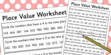 Place Value Activity Sheet 3 Digits