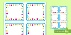 Multicolored Stars Square Editable Drawer, Peg, Name Labels