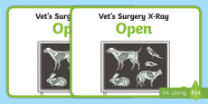 Vets Surgery Role Play Animal X-Ray Sign Display Poster