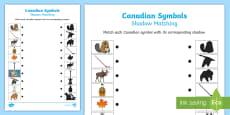 Canadian Symbols Shadow Matching Activity Sheet